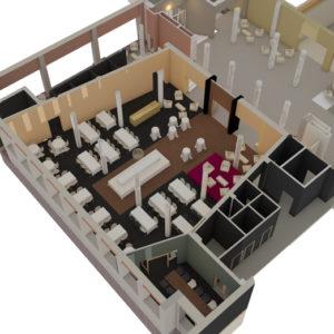 Vy över nya restaurang Ernst. Bild LAAJA arktiekter.