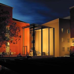 Innergården med utbyggnaden och Glaset.