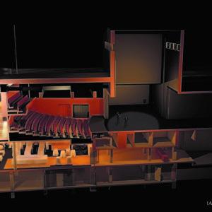 Genomskärning av teaterbyggnaden. Överst syns scenen med tillbyggnaden, under salongen syns nya restaurang Ernst.